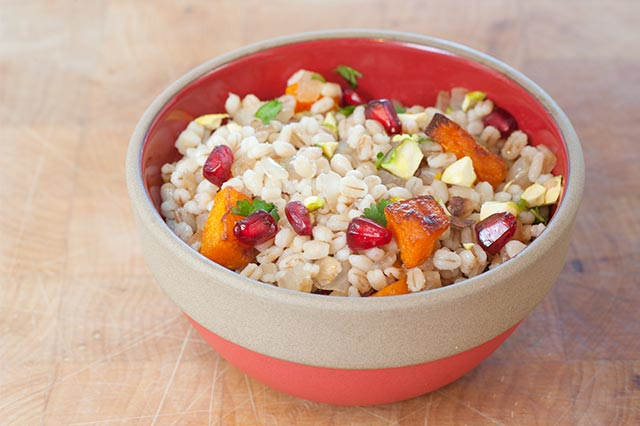 Pearled Barley with Butternut, Pomegranate and Pistachios