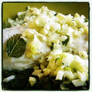 Poached Halibut with Fennel & Lemon Balm