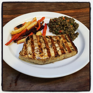 Grilled Swordfish with Root Vegetable Fries and French Lentil Salad