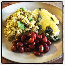 Chiles Rellenos, Mexican Green Rice, Yellow Indian Woman Beans