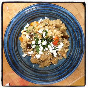 Aubergines with Bulgar Wheat