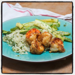 Spicy Shrimp, Cilantro Rice, Zucchini