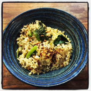 Crusty Brown Rice with Greens