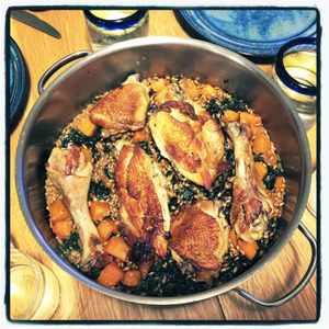 Braised Chicken with Farro, Kale and Winter Squash