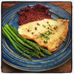 Beet Latkes, Simple Sole and Asparagus
