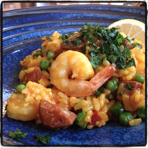Paella with Shrimp and Sausage