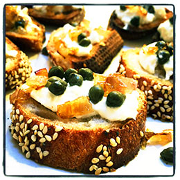Caper Burrata Crostini