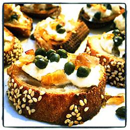 Caper Burrata Crostini