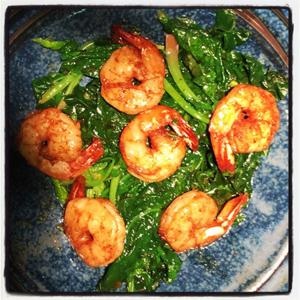 Bourbon Shrimp with Spinach