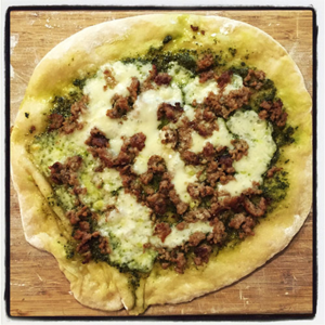 Pizza with Pesto and Sausage