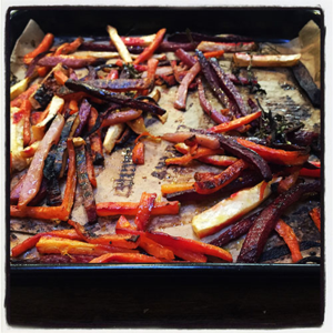 "Maple-Balsamic Root Vegetable ""Fries"""